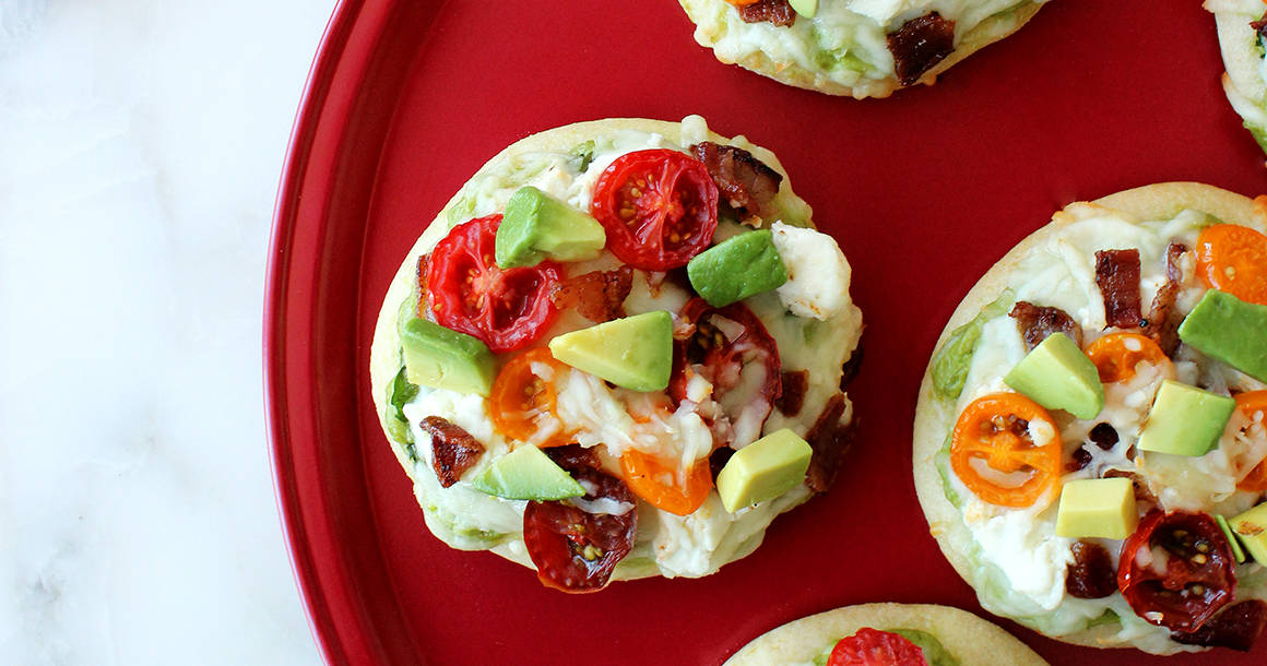 This is a recipe for Bacon, Goat Cheese & Avocado Pizza by Glitter and Bubbles for Williams-Sonoma.
