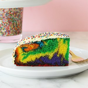 This is a recipe for Rainbow Swirl Cake by Rad Mom Irina Ovrutsky of Lola + the Boys for Glitter and Bubbles.