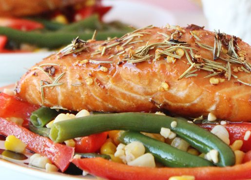 A healthy recipe for soy, honey and red pepper flake salmon.