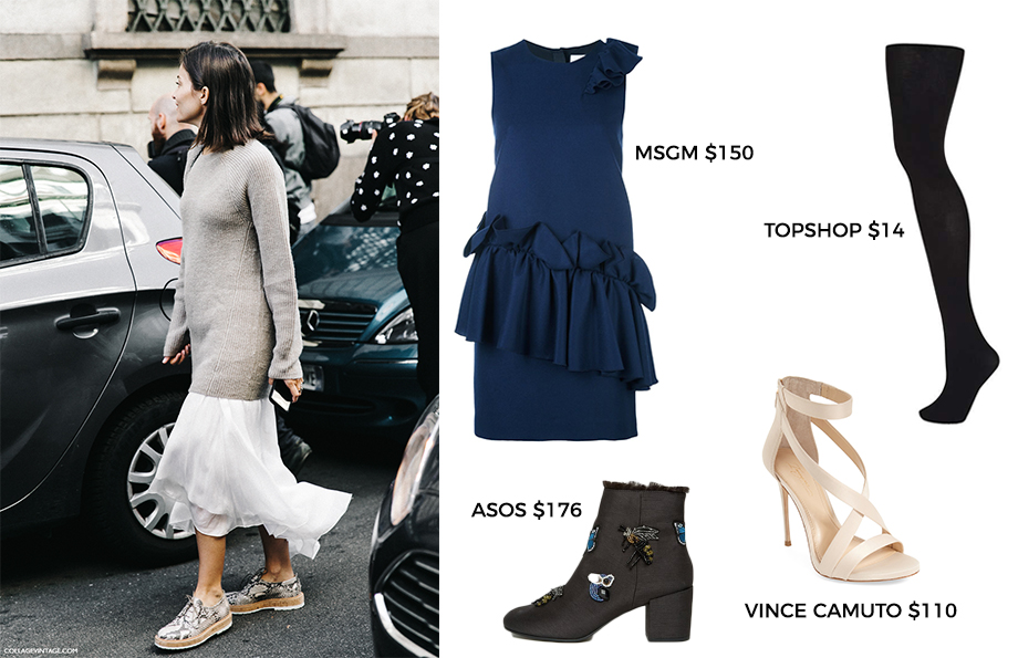 How to wear a dress with ruffles.