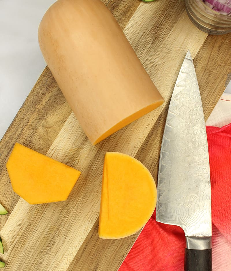 How to cut up butternut squash for a salad recipe.