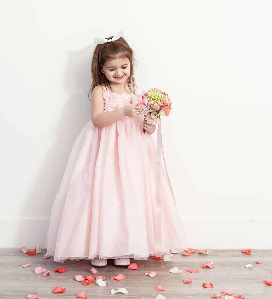 How to style a flower girl's dress from David's Bridal.