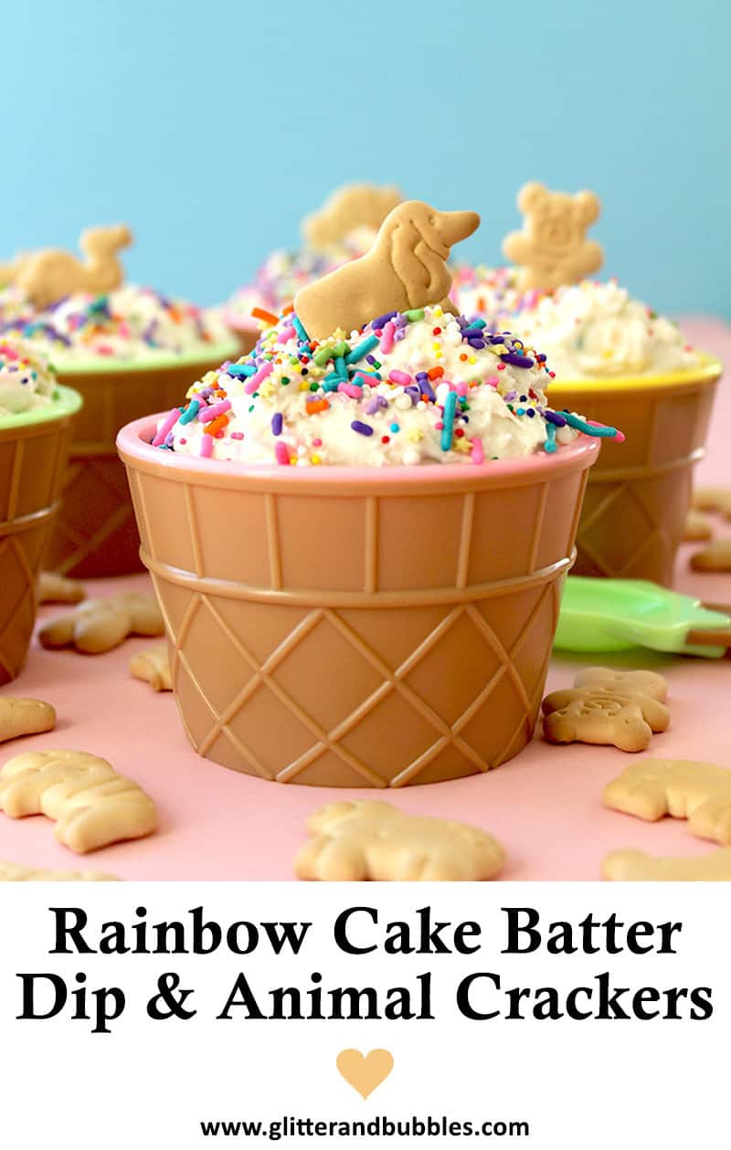 An easy and quick recipe for rainbow cake batter dip that tastes like Dunkaroos.