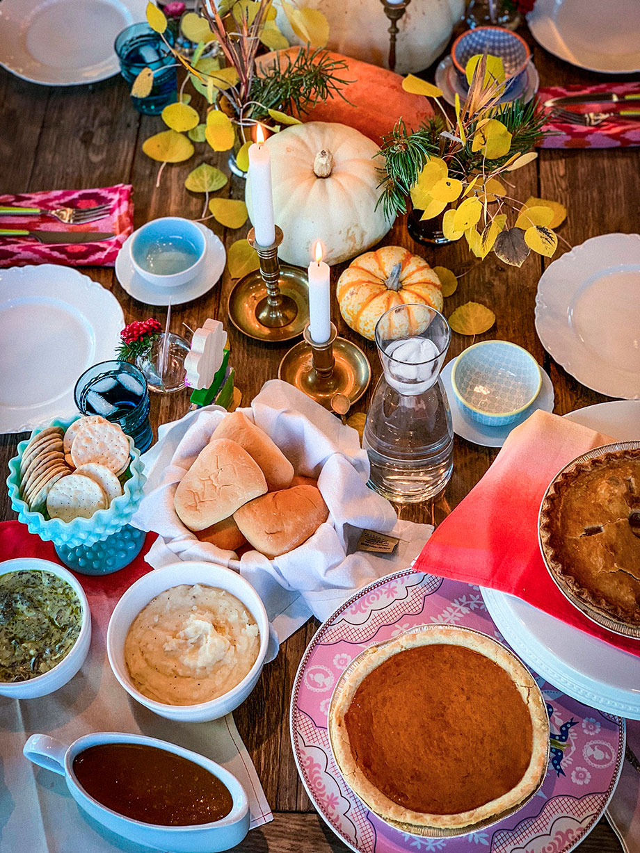 A Thanksgiving table filled with food from Boston Market.