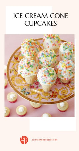 How to make ice cream cone cupcakes with Glitter and Bubbles.
