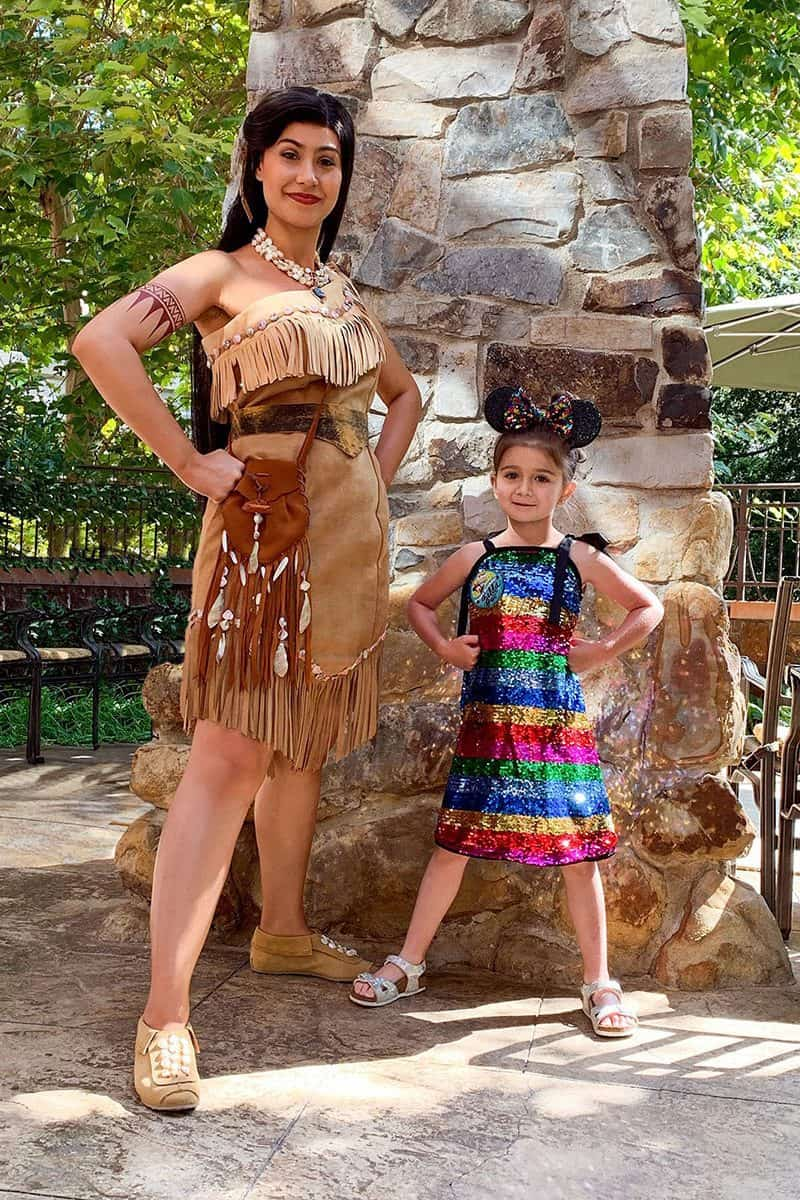 Glitter and Bubbles hangs with Pocahontas.