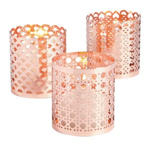 Ornate Rose Gold Candle Holders