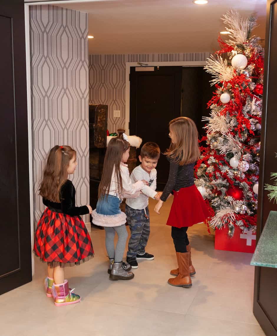 Zelda and friends playing in the Swissotel Santa Suite